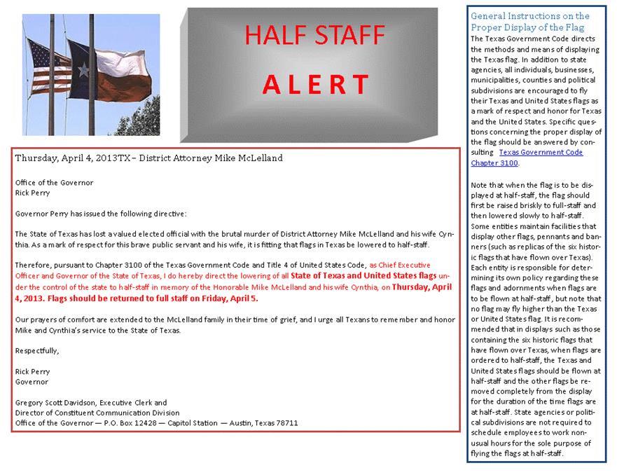 state of texas half staff alert April 4th 2013