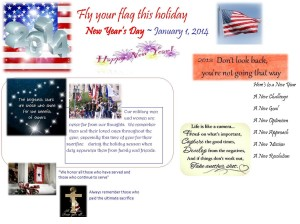 Reminder to fly the flag New Years Day Jan 1 2014 for FB