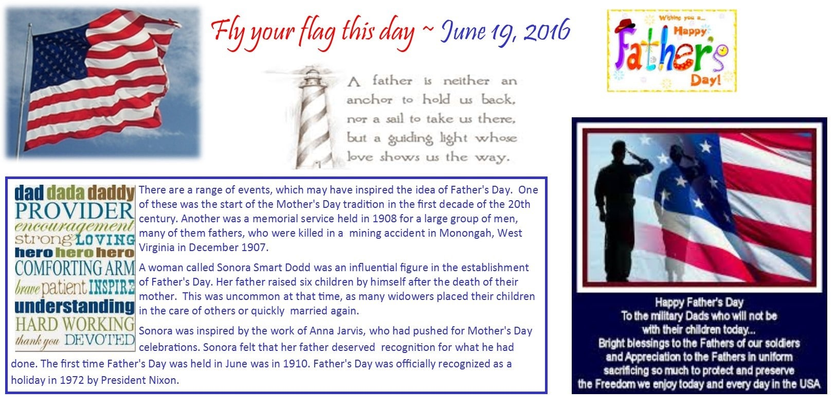 Reminder to fly the flag Fathers Day June 19 2016 for FB